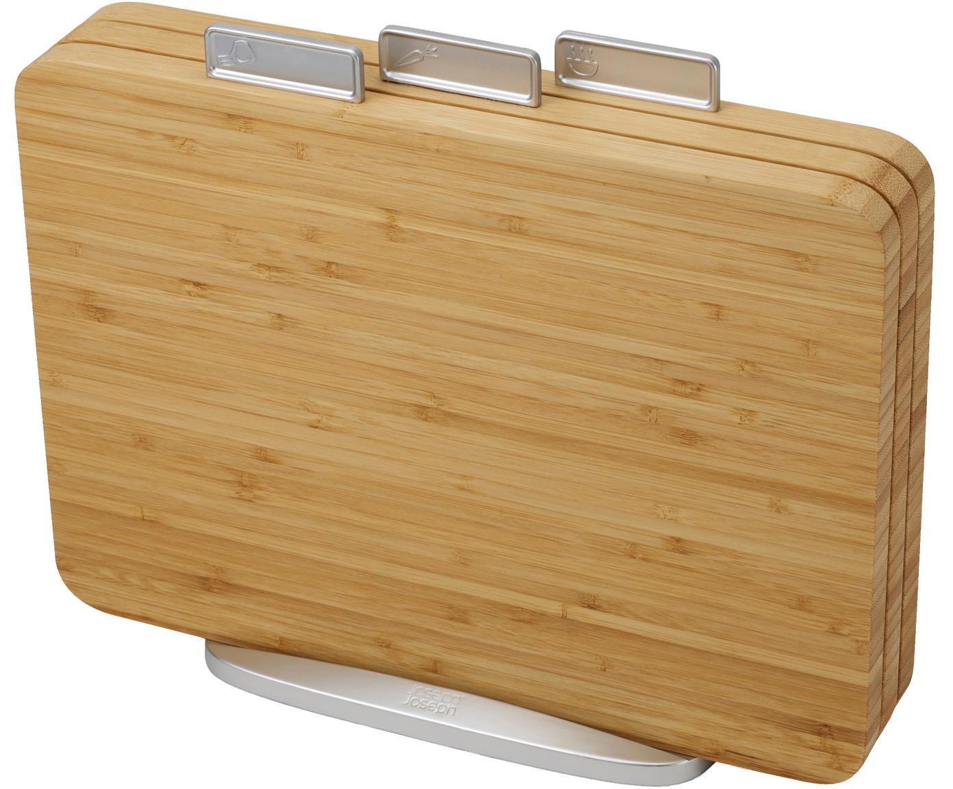 Schneidebrett-Set Index Bamboo, 4-tlg., Bambus, Polypropylen, Thermoplastischer Kunststoff, Metall, verzinkt, Bambus, Zink, 35 x 30 cm