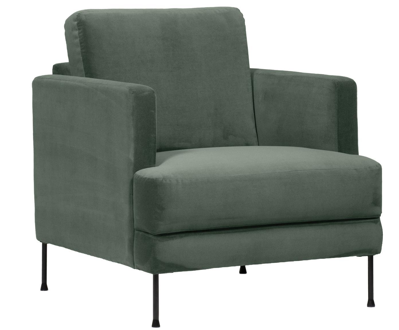 Fluwelen fauteuil Fluente, Bekleding: fluweel (hoogwaardig poly, Frame: massief grenenhout, Poten: gelakt metaal, Groen, B 76 x D 83 cm