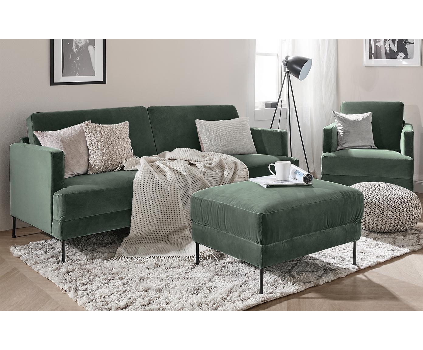 Fotel z aksamitu Fluente, Tapicerka: aksamit (wysokiej jakości, Stelaż: lite drewno sosnowe, Nogi: metal lakierowany, Zielony aksamit, S 76 x G 83 cm