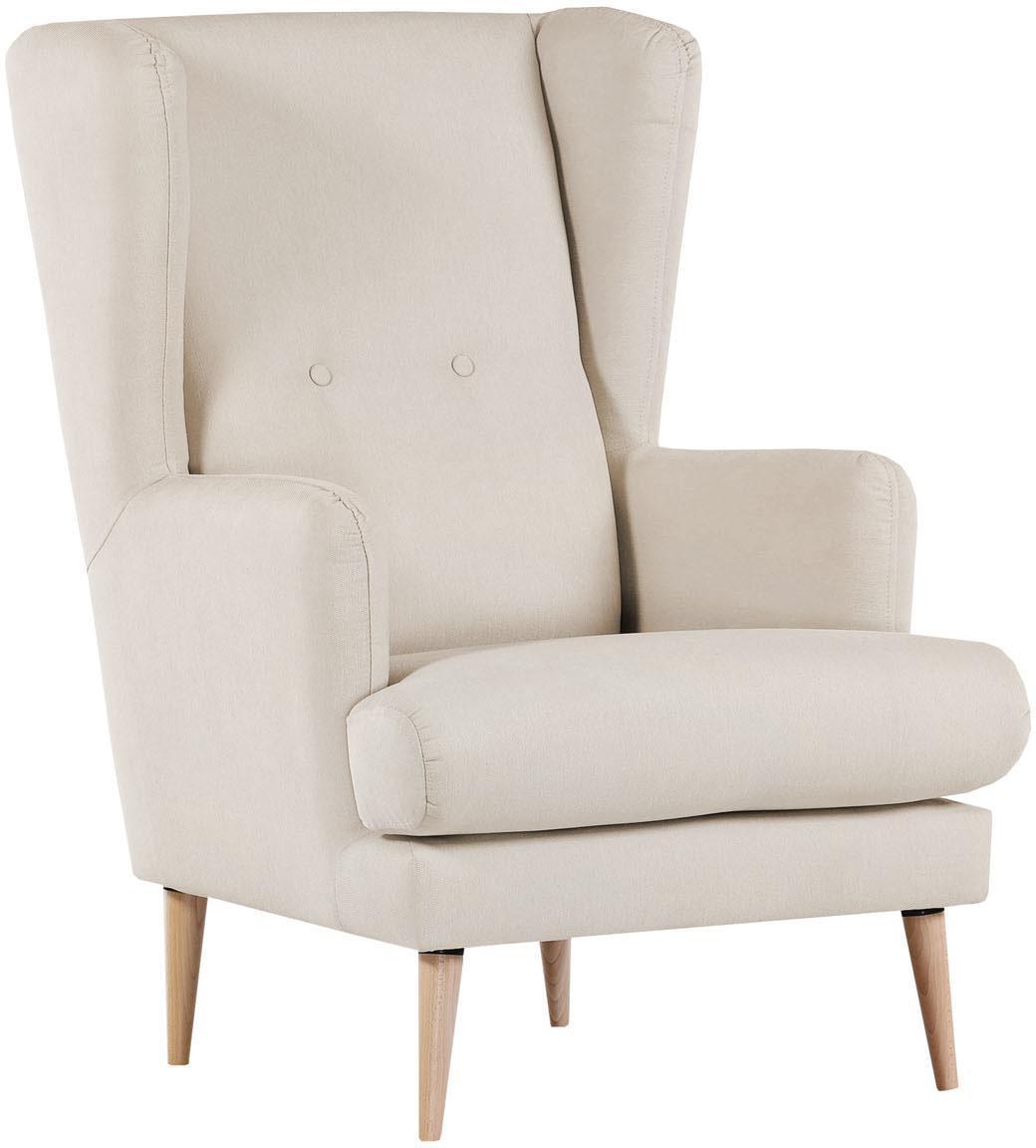 Fotel uszak scandi Robin, Tapicerka: 90% poliester, 10% poliam, Nogi: drewno lakierowane, Beżowy, S 77 x G 85 cm