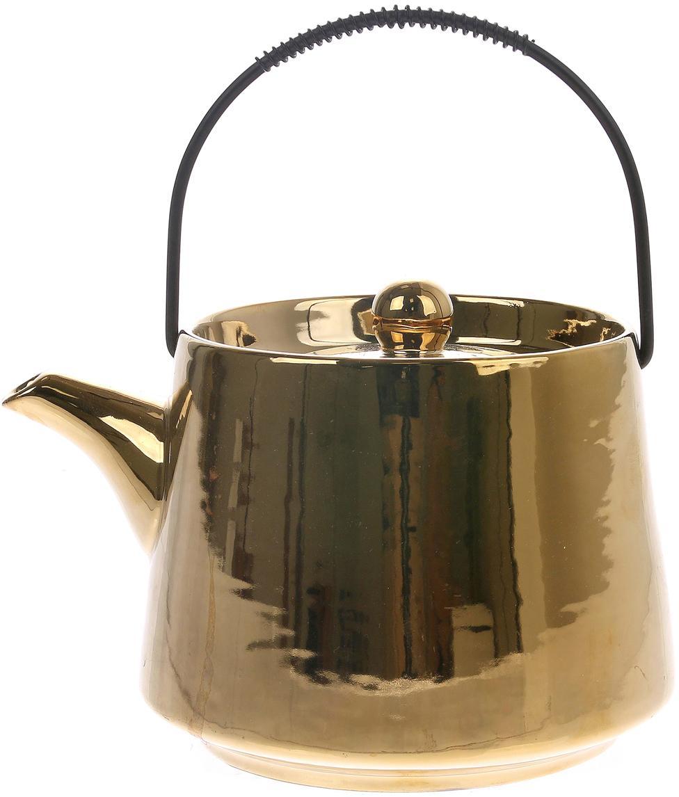 Handgemaakte theepot Bold & Basic, Hoogglanzend goudkleurig. Handvat: zwart, 840 ml