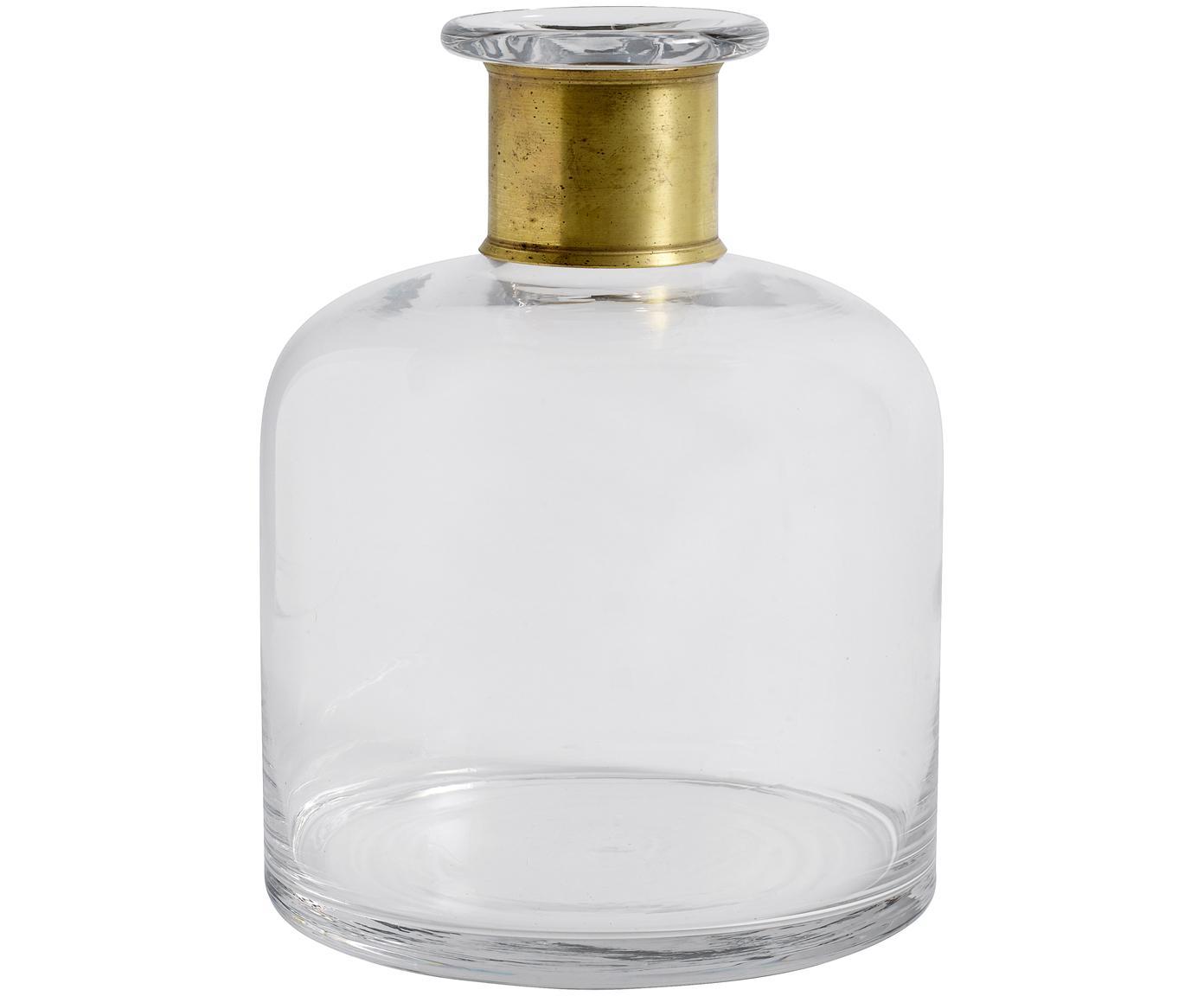 Mondgeblazen vaas Julie, Vaas: glas, Vaas: transparant. Versiering: messingkleurig, Ø 18 x H 23 cm