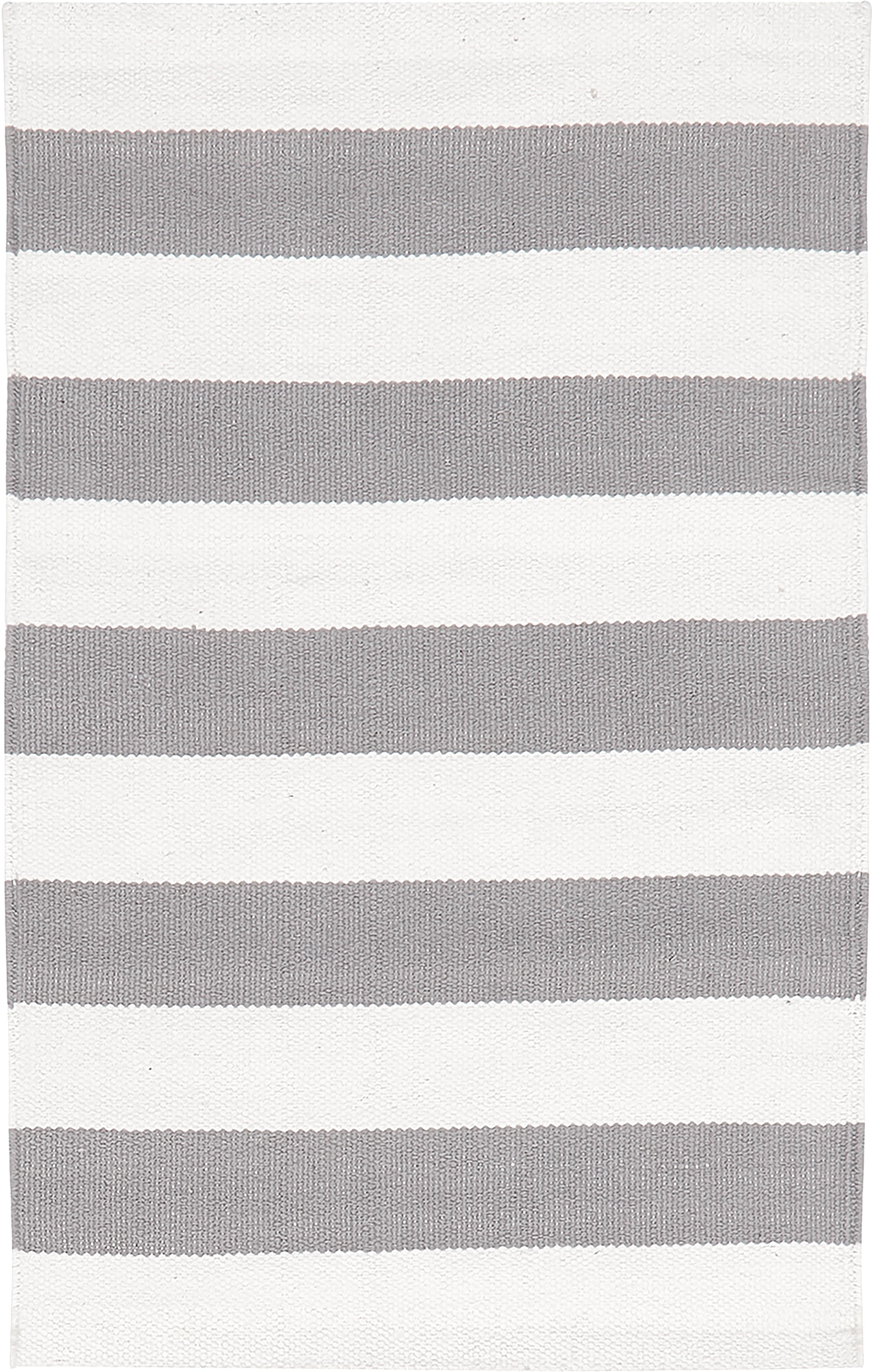 Handgeweven katoenen vloerkleed Blocker, Katoen, Crèmewit/lichtgrijs, B 50 x L 80 cm (maat XXS)