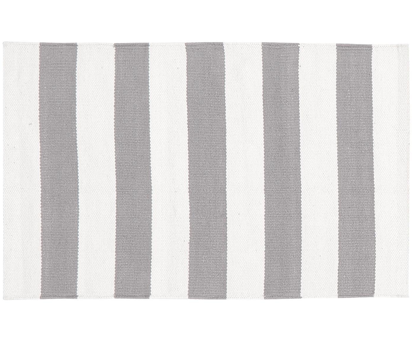 Alfombra artesanal de algodón Blocker, Algodón, Blanco crema, gris claro, An 50 x L 80 cm (Tamaño XXS)