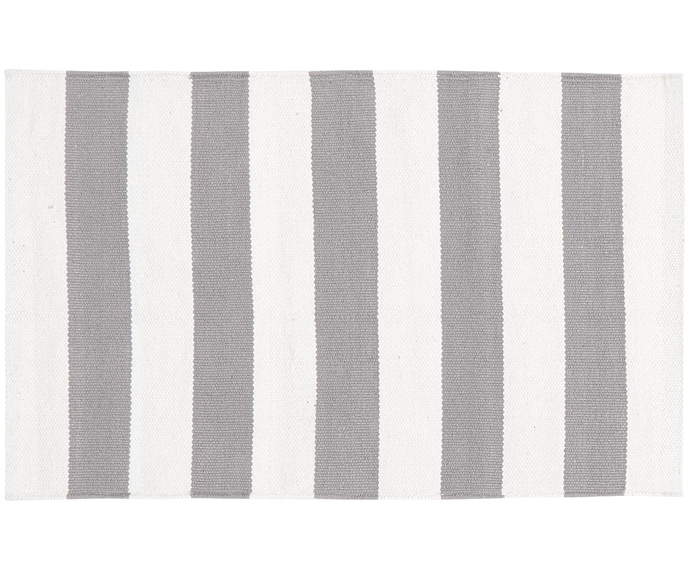 Gestreifter Baumwollteppich Blocker in Grau/Weiß, handgewebt, 100% Baumwolle, Cremeweiß/Hellgrau, B 50 x L 80 cm (Größe XXS)