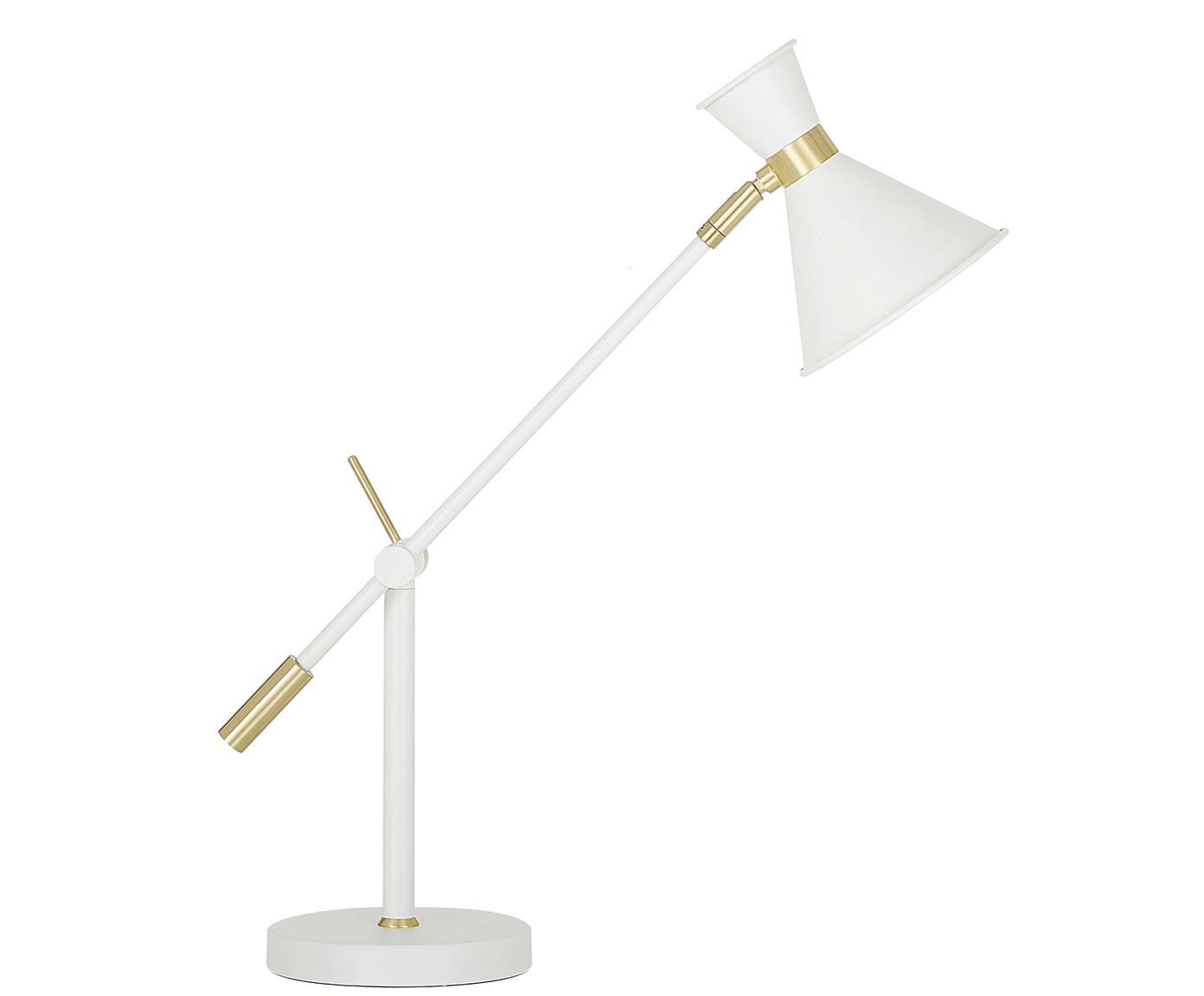 Schreibtischlampe Audrey mit Gold-Dekor, Lampenschirm: Metall, pulverbeschichtet, Lampenfuß: Metall, pulverbeschichtet, Mattweiß, ∅ 15 x H 68 cm
