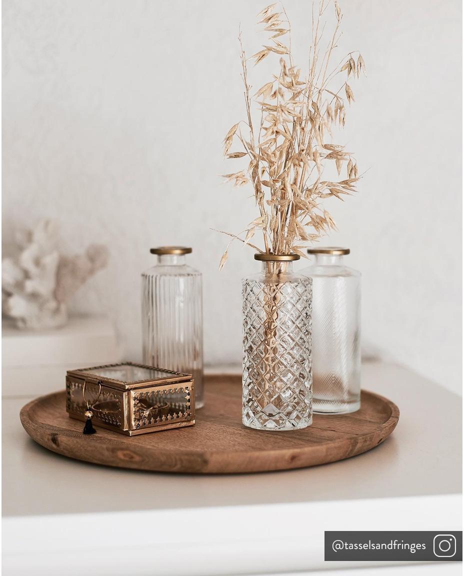 Set 3 vasi in vetro Adore, Vetro verniciato, Trasparente, dorato, Ø 5 x Alt. 13 cm