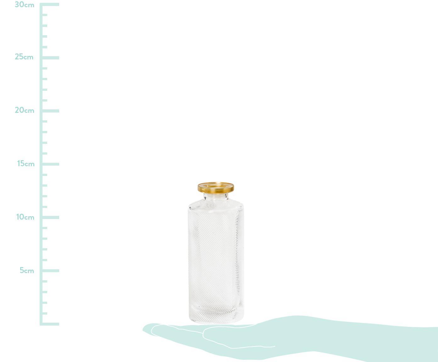 Set de jarrones de vidrio Adore, 3pzas., Vidrio, pintado, Transparente, dorado, Ø 5 x Al 13 cm