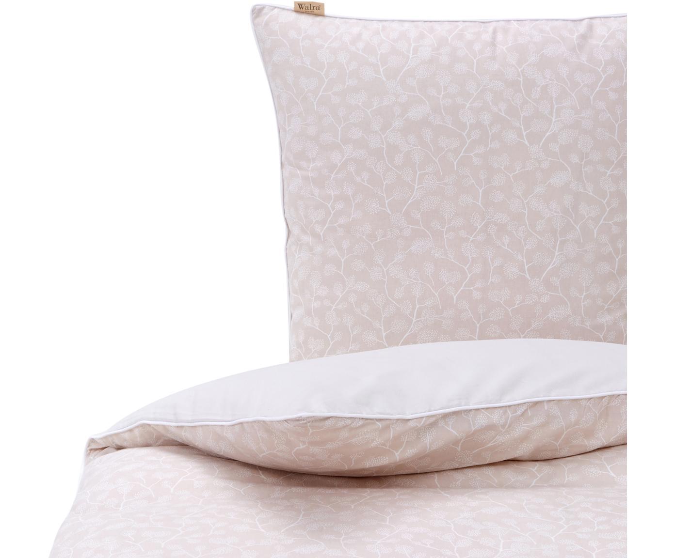 Flanell-Bettwäsche White Forest mit floralem Print, Webart: Flanell Flanell ist ein s, Hellbeige, Creme, 135 x 200 cm + 1 Kissen 80 x 80 cm