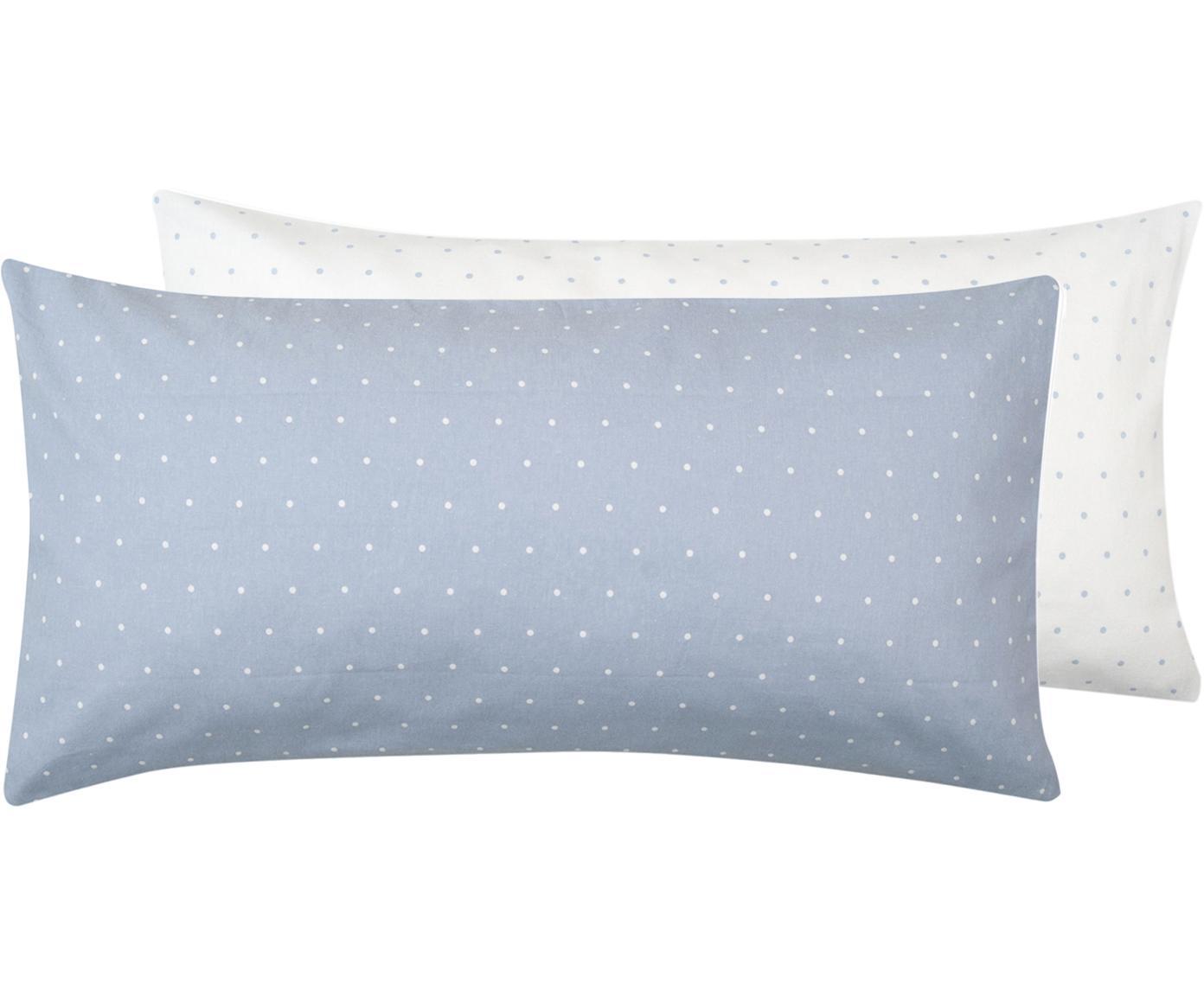 Flanell-Wendekissenbezüge Betty, gepunktet, 2 Stück, Webart: Flanell Fadendichte 144 T, Hellblau, Weiß, 40 x 80 cm