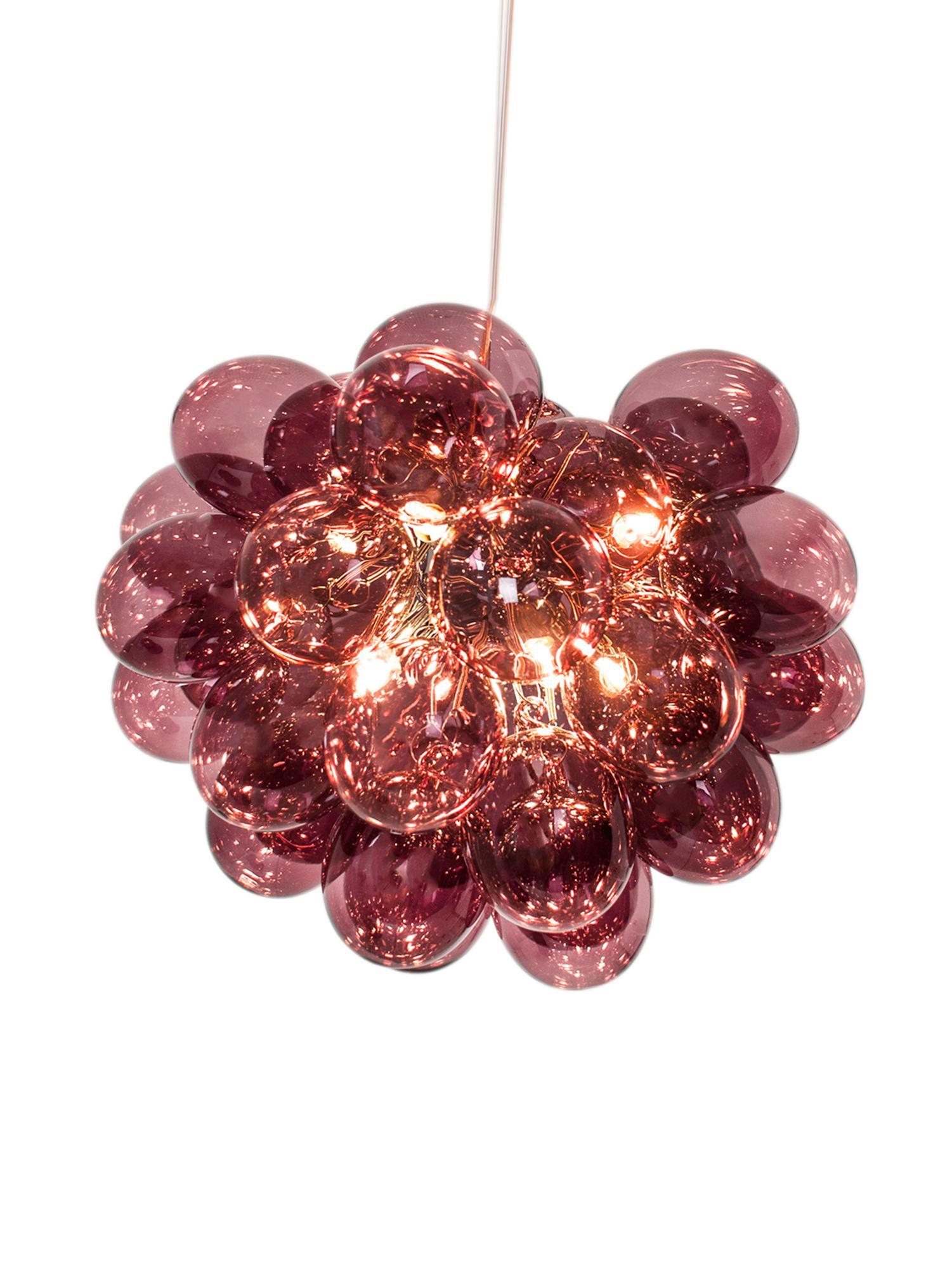 Lampada a sospensione con sfere di vetro Gross, Borgogna, Ø 50 x Alt. 40 cm