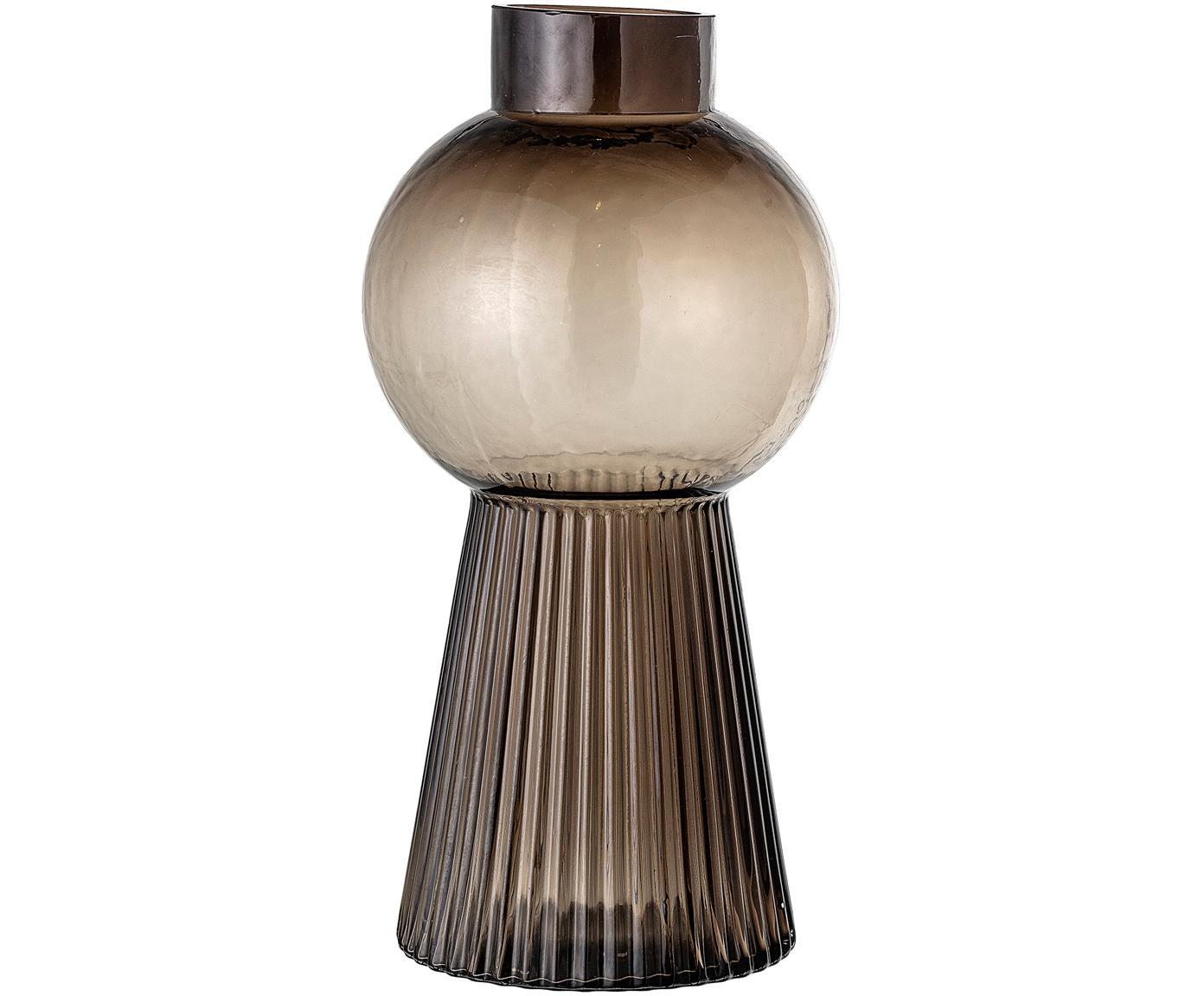 Grote glazen vaas Mola, Glas, Bruin, transparant, Ø 17 x H 34 cm