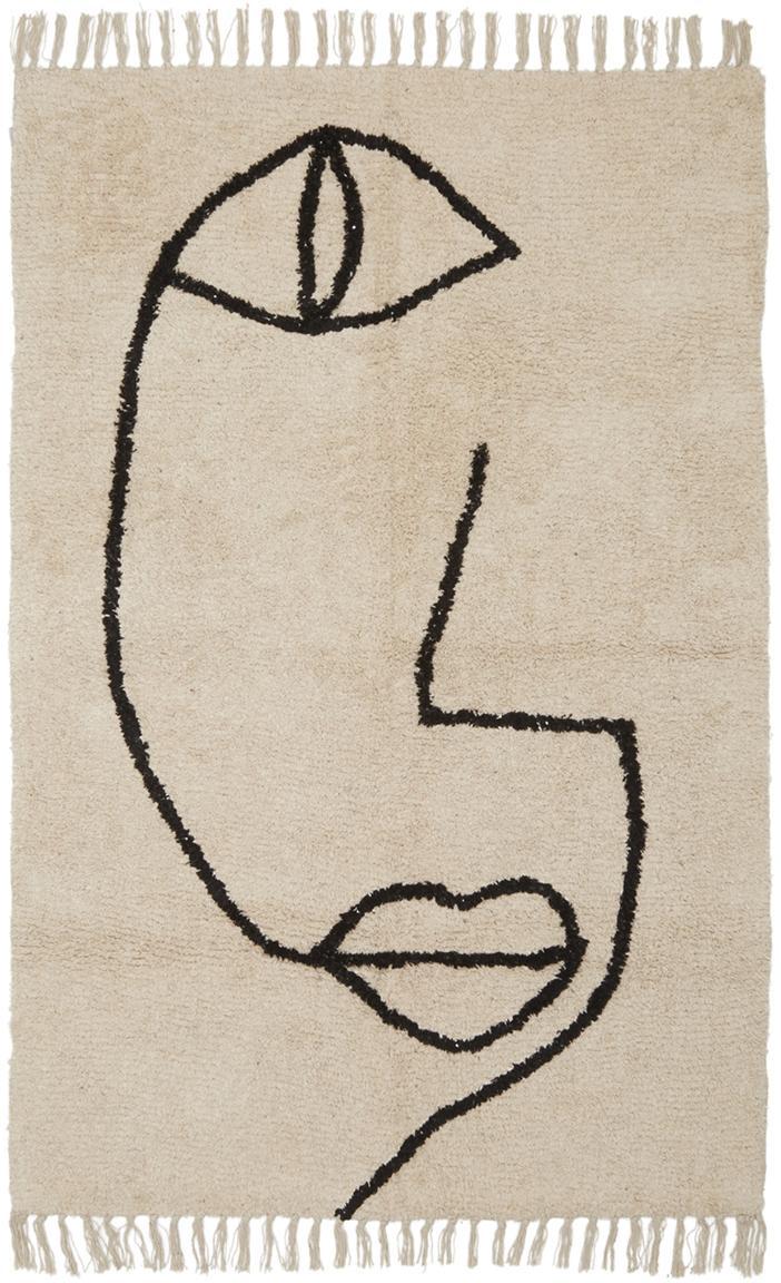 Teppich Open Eye mit abstrakter One Line Zeichnung, Beige, Schwarz, B 90 x L 150 cm (Größe XS)