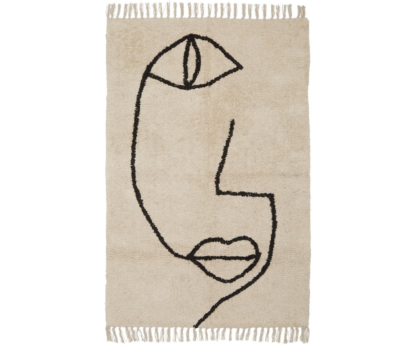 Vloerkleed Open Eye met abstracte One Line tekening, Katoen, Beige, zwart, 90 x 150 cm
