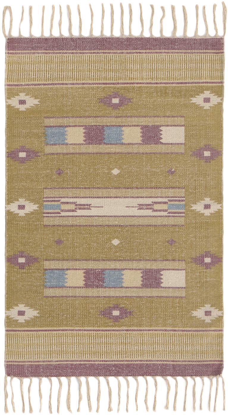 Alfombra Kamel, estilo étnico, 100%algodón, Mostaza, beige, lila, azul, An 60 x L 90 cm (Tamaño XXS)