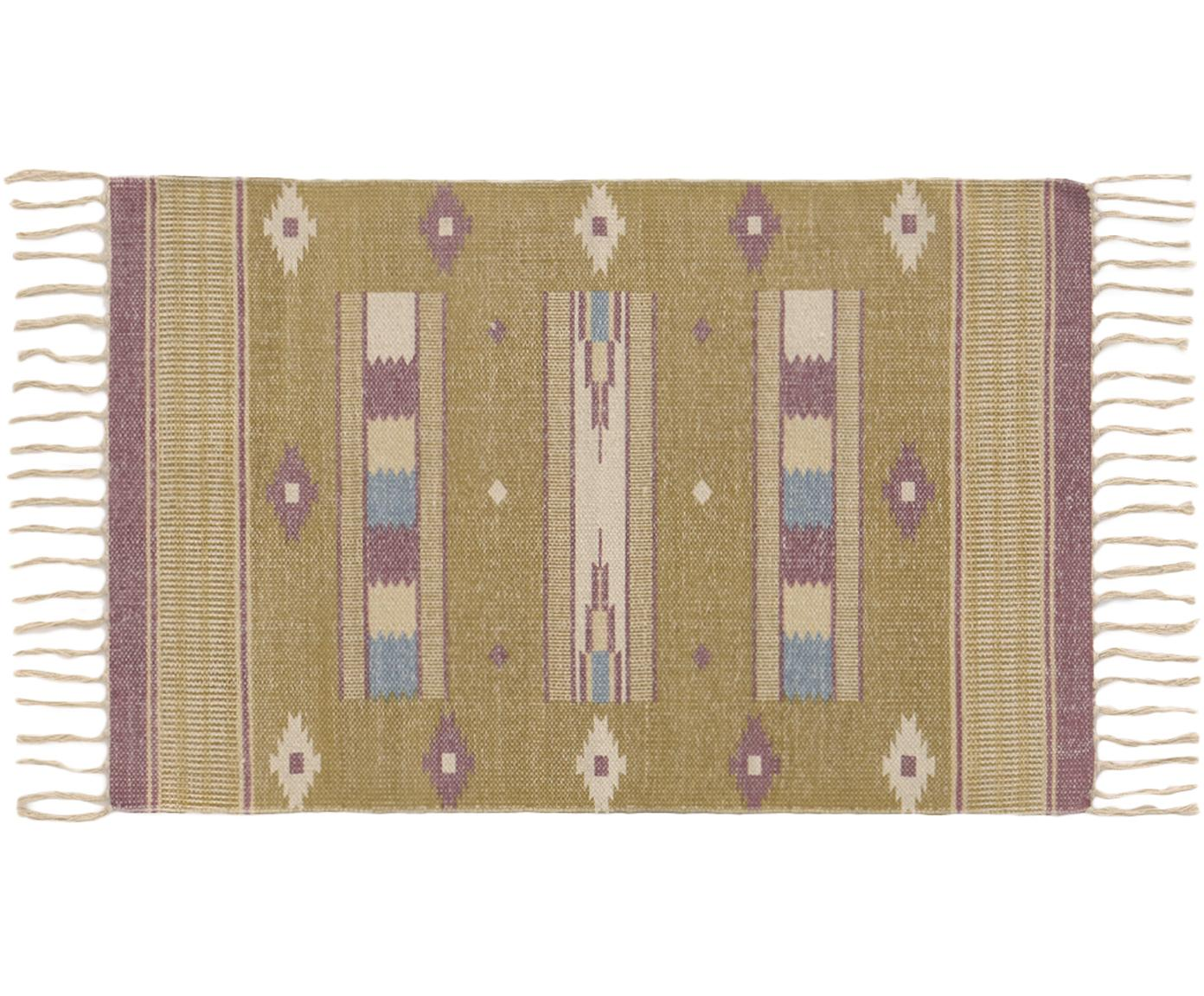 Teppich Kamel im Ethno Style, 100% Baumwolle, Senfgelb, Beige, Lila, Blau, B 60 x L 90 cm (Größe XXS)