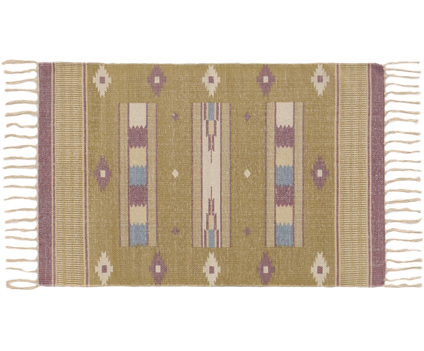Vloerkleed Kamel, Katoen, Mosterdgeel, beige, lila, blauw, 60 x 90 cm