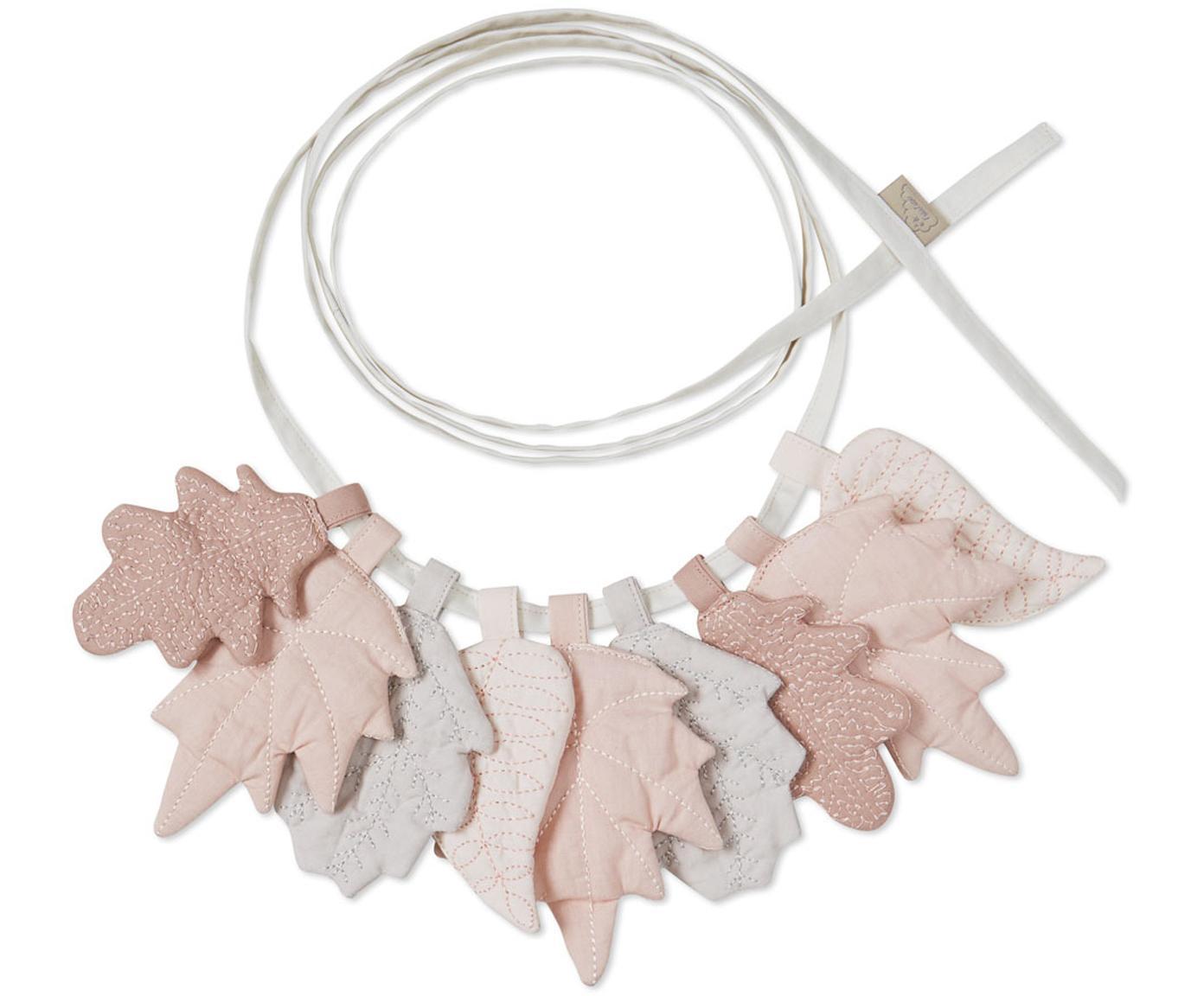 Ghirlanda in cotone organico Leaves, 2020 cm, Rivestimento: cotone organico, Toni rosa, grigio, Lung. 220 cm