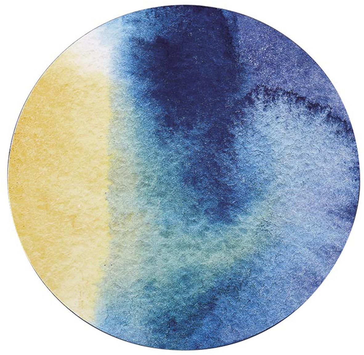Tovaglietta americana rotonda Inky 4 pz, Retro: sughero, Blu, bianco, giallo, turchese, Ø 29 cm