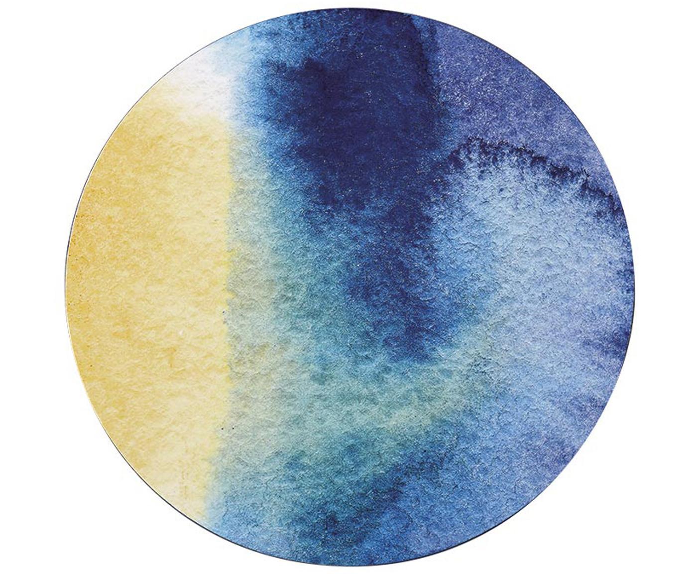 Runde Kunststoff-Tischsets Inky, 4 Stück, Vorderseite: Kunststoff Rückseite, Blau, Weiss, Gelb,Türkis, Ø 29 cm
