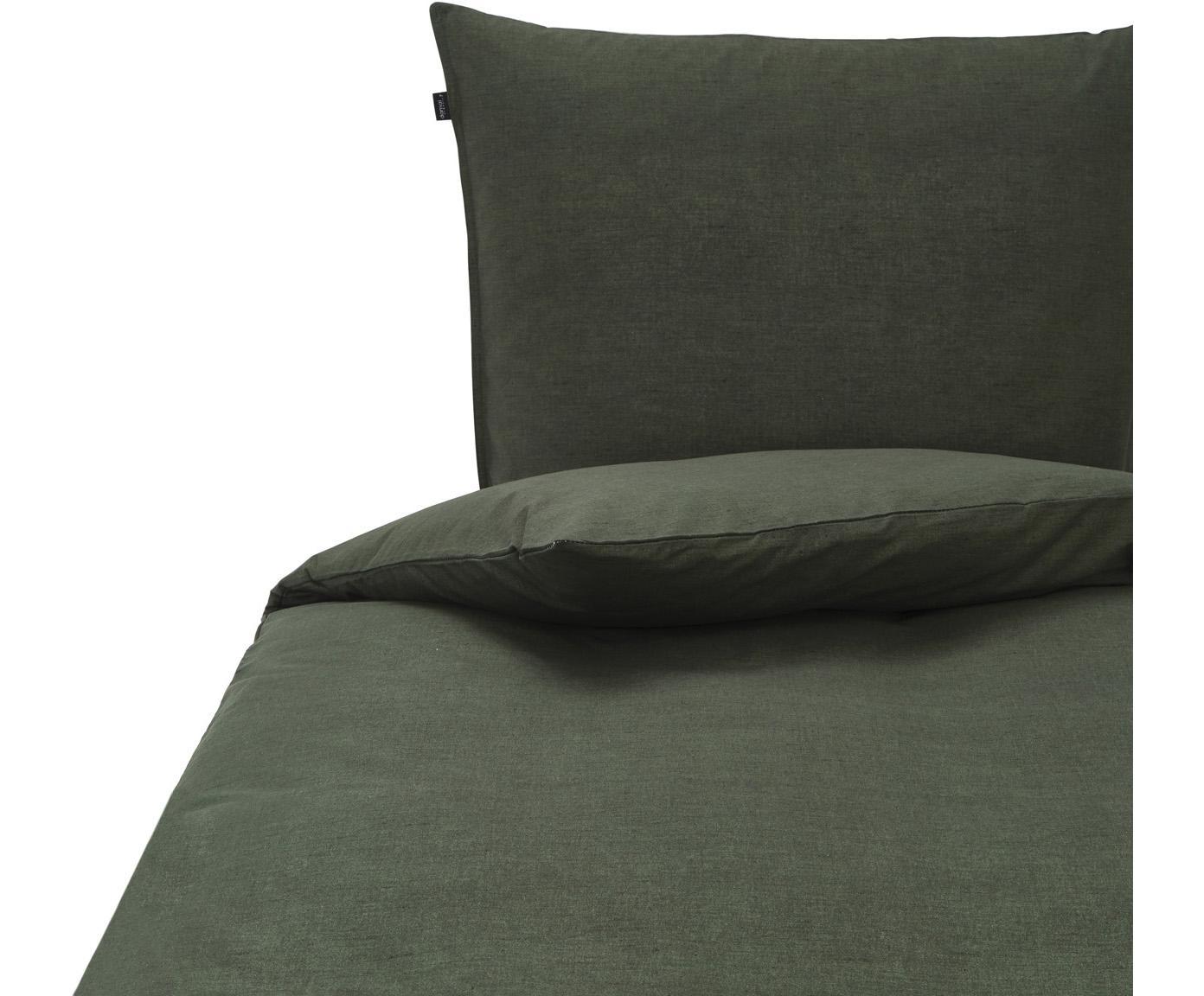 Bettwäsche Birk aus Bio-Baumwolle in Grün, 100% Bio-Baumwolle  Bettwäsche aus Baumwolle fühlt sich auf der Haut angenehm weich an, nimmt Feuchtigkeit gut auf und eignet sich für Allergiker., Grün, 135 x 200 cm + 1 Kissen 80 x 80 cm