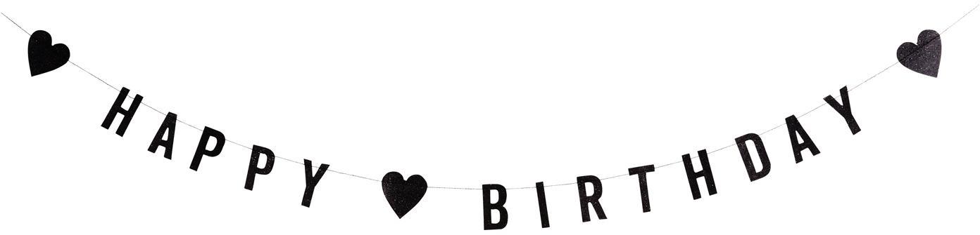 Girlanda z papieru Happy Birthday, Papier, bawełna, Czarny, D 1000 cm