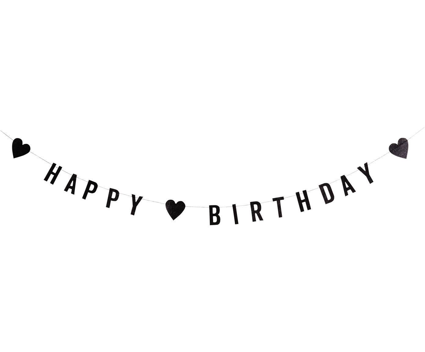 Glitzernde Girlande Birthday aus schwarzem Papier, Papier, Baumwolle, Schwarz, L 100 cm