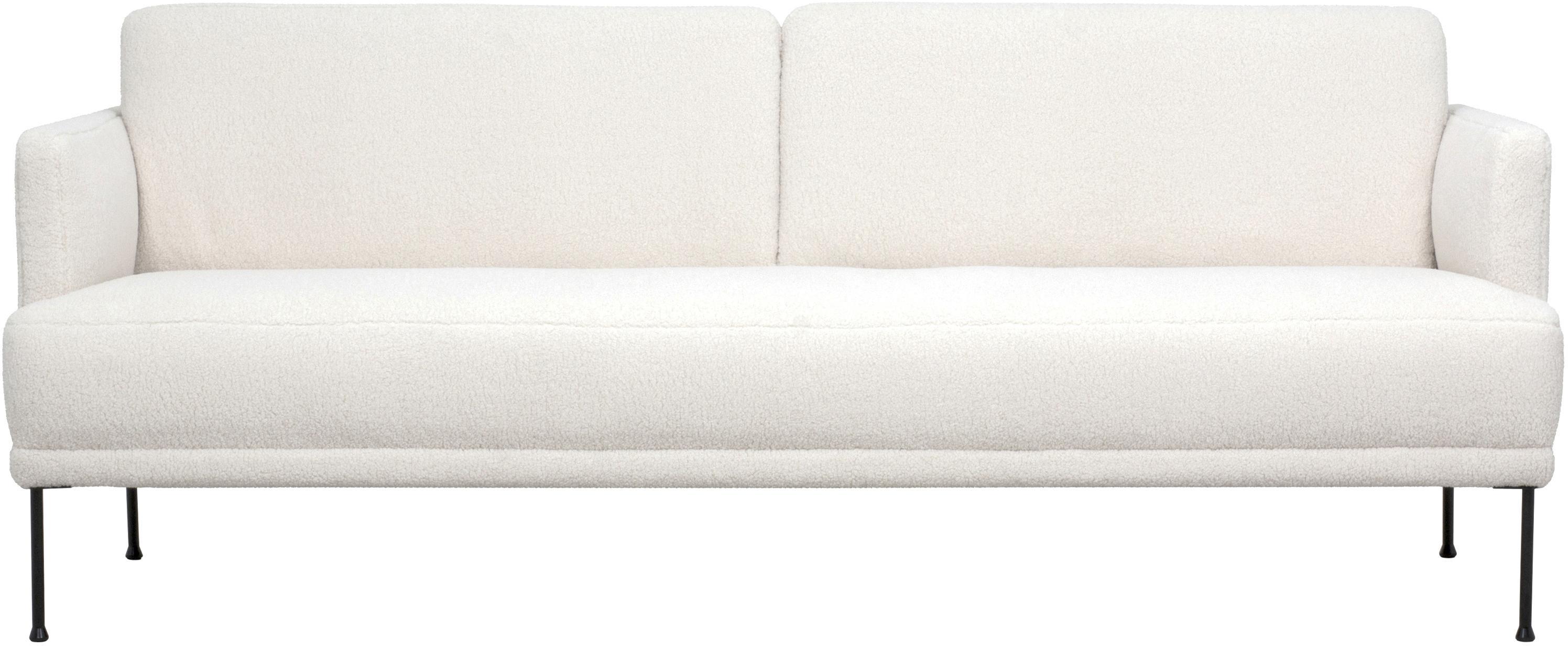 Teddy-Sofa Fluente (3-Sitzer), Bezug: 100% Polyester (Teddyfell, Gestell: Massives Kiefernholz, Teddy Cremeweiss, B 196 x T 85 cm