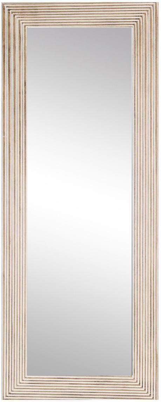 Espejo de pared Furrows, Madera reciclada, espejo de cristal, Beige, An 59 x Al 150 cm