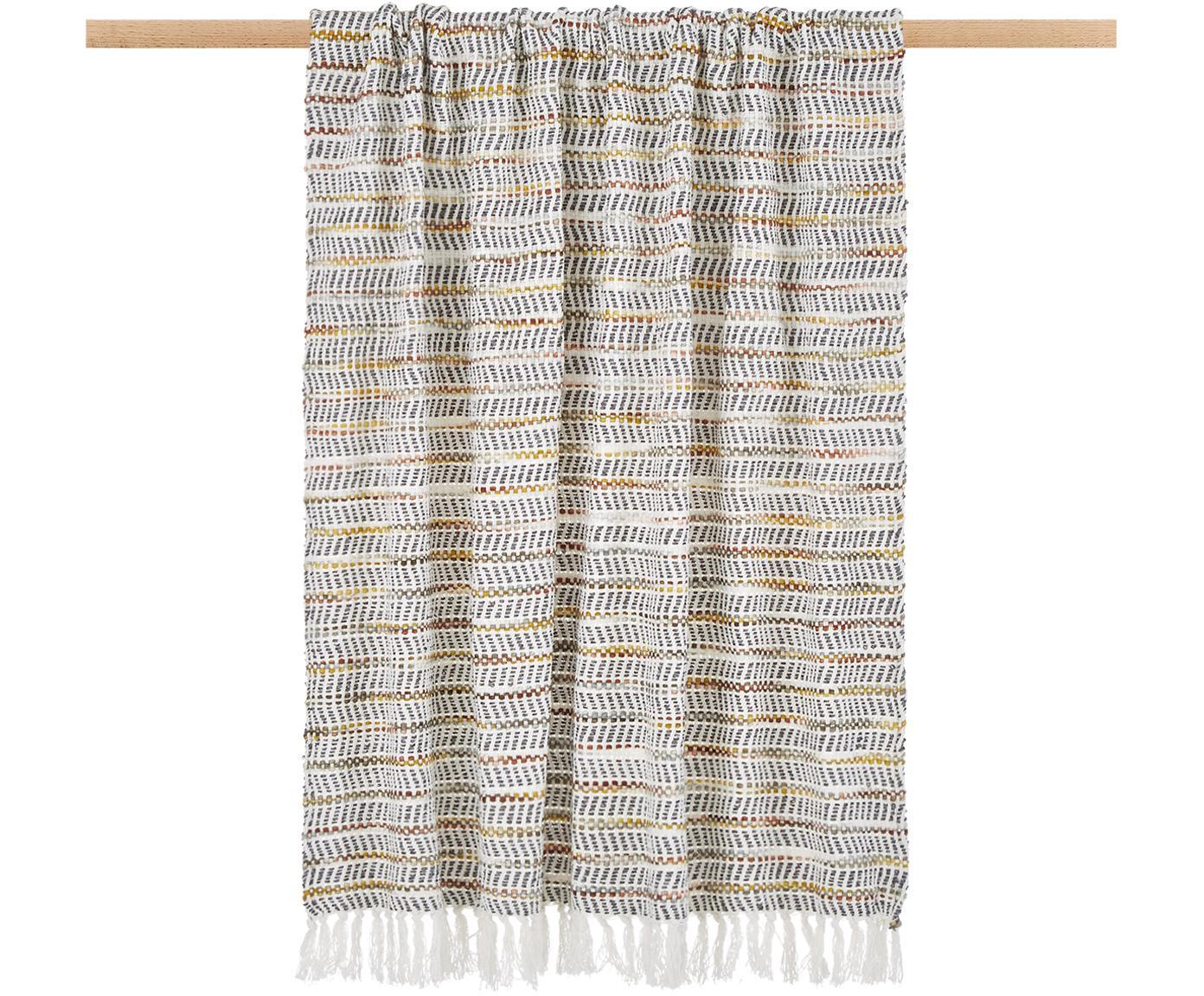 Pled Bo-Kaap, 100% bawełna, Odcienie kremowego, czarny, brunatnożółty, pomarańczowy, S 125 x D 150 cm