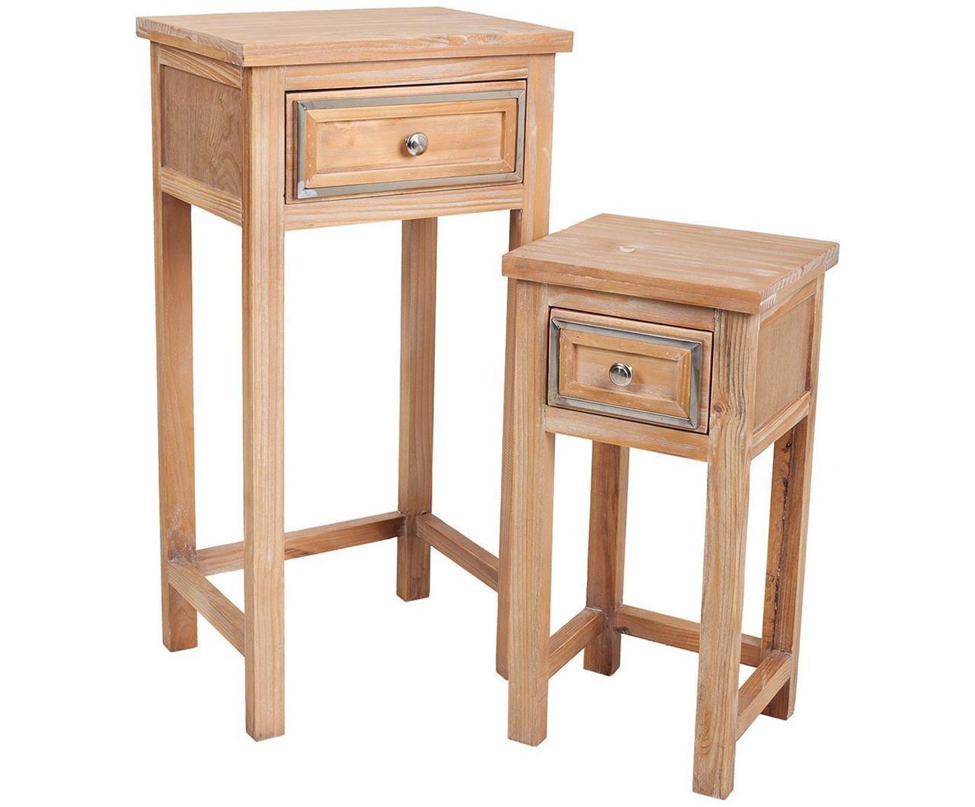 Set de mesas auxiliares Claudia, 2pzas., Estructura: madera de pino, Tablero: fibras de densidad media , Beige, plateado, Tamaños diferentes