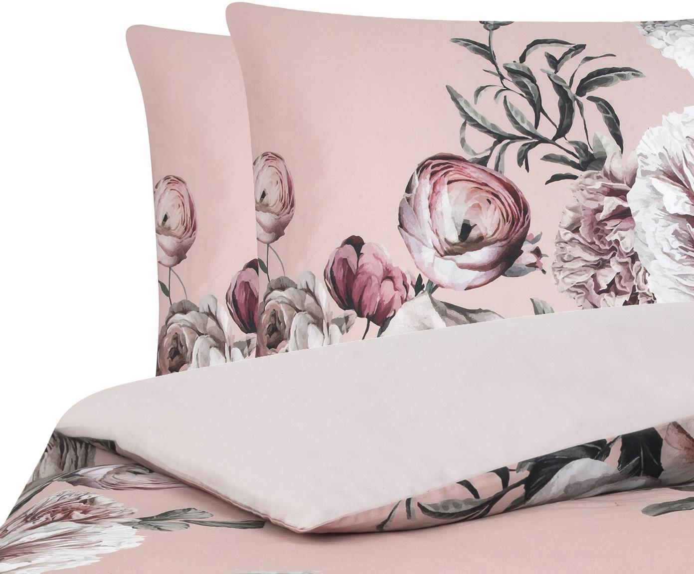 Baumwollsatin-Bettwäsche Blossom mit Blumen-Print, Webart: Satin Fadendichte 210 TC,, Mehrfarbig, Rosa, 240 x 220 cm + 2 Kissen 80 x 80 cm