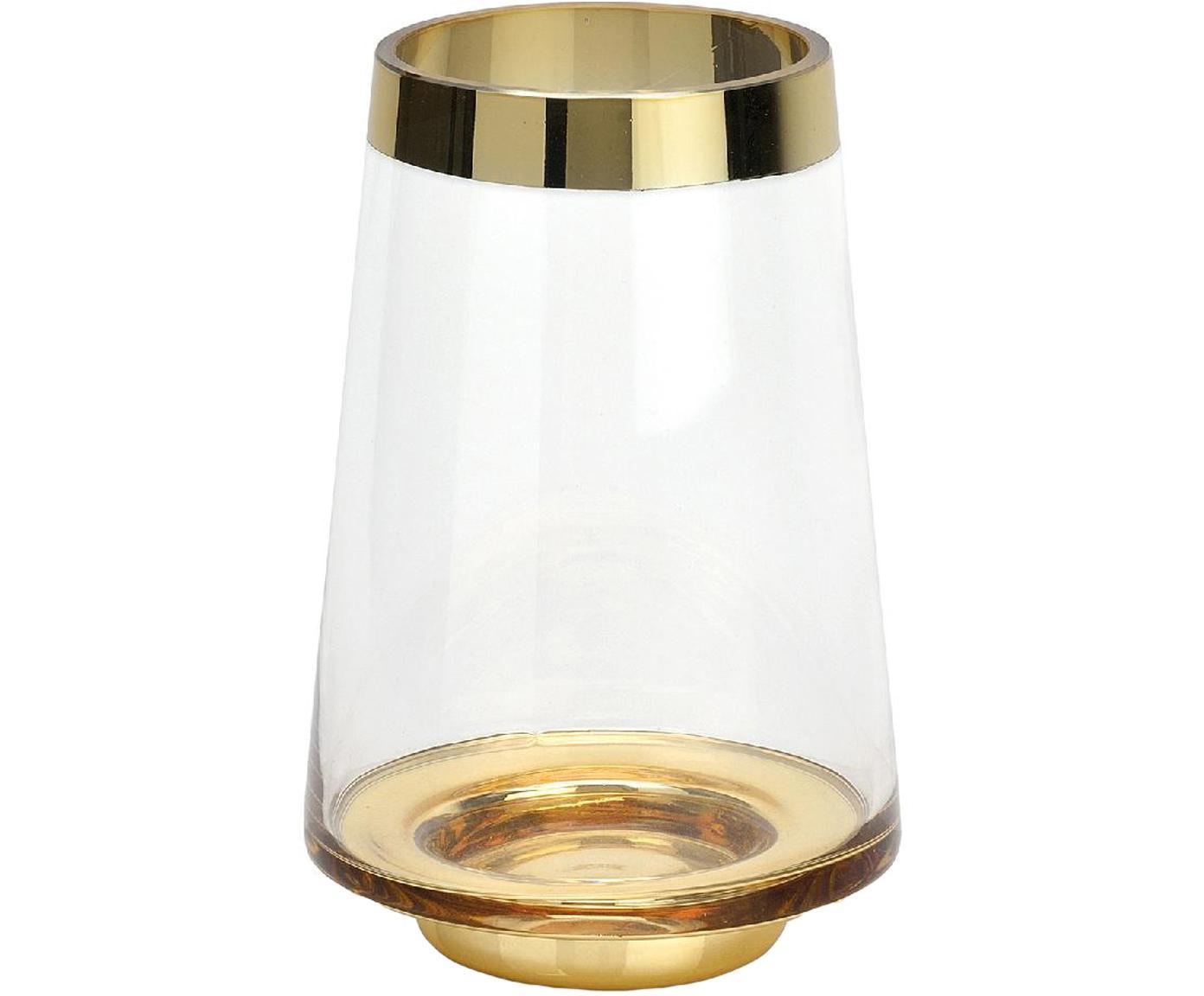 Glas-Vase Lydia mit lackiertem Rand, Glas, Transparent, Goldfarben, Ø 13 x H 20 cm