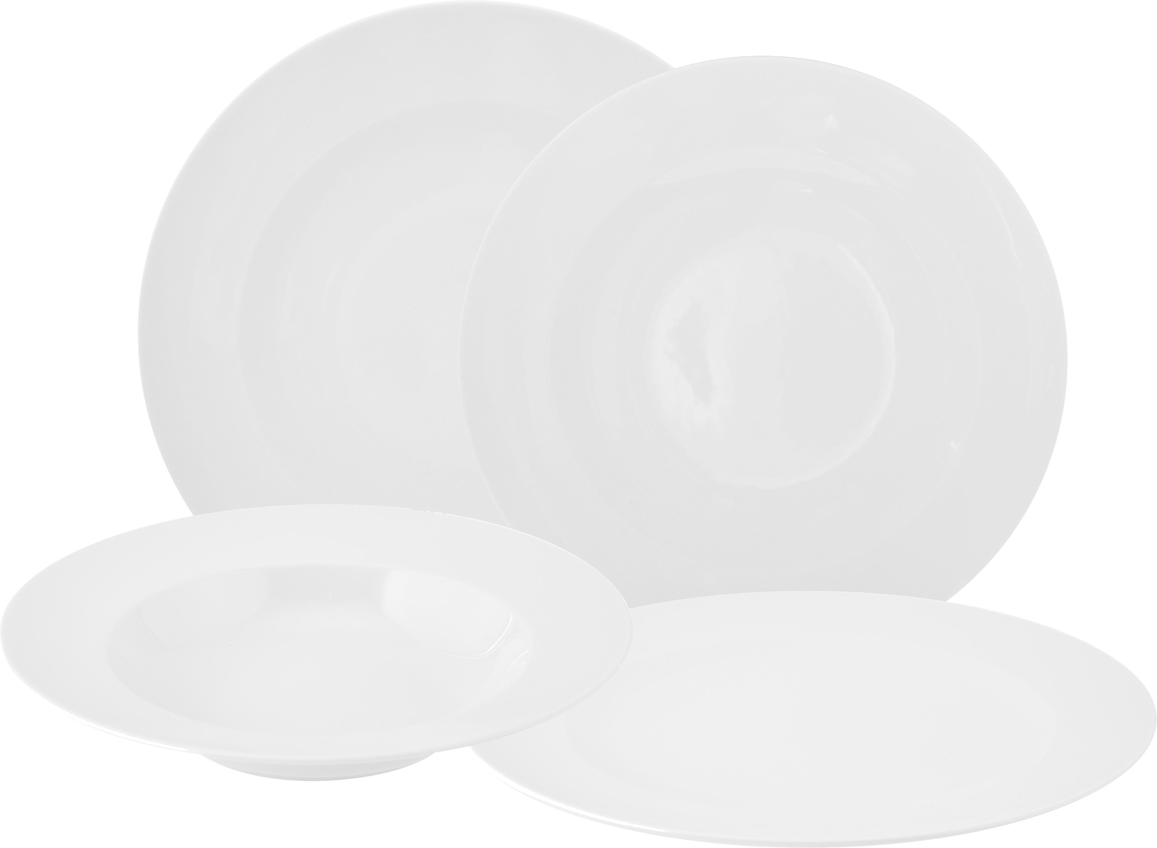 Vajila de porcelan For Me, 6comensales (8pzas.), Porcelana, Blanco, Tamaños diferentes