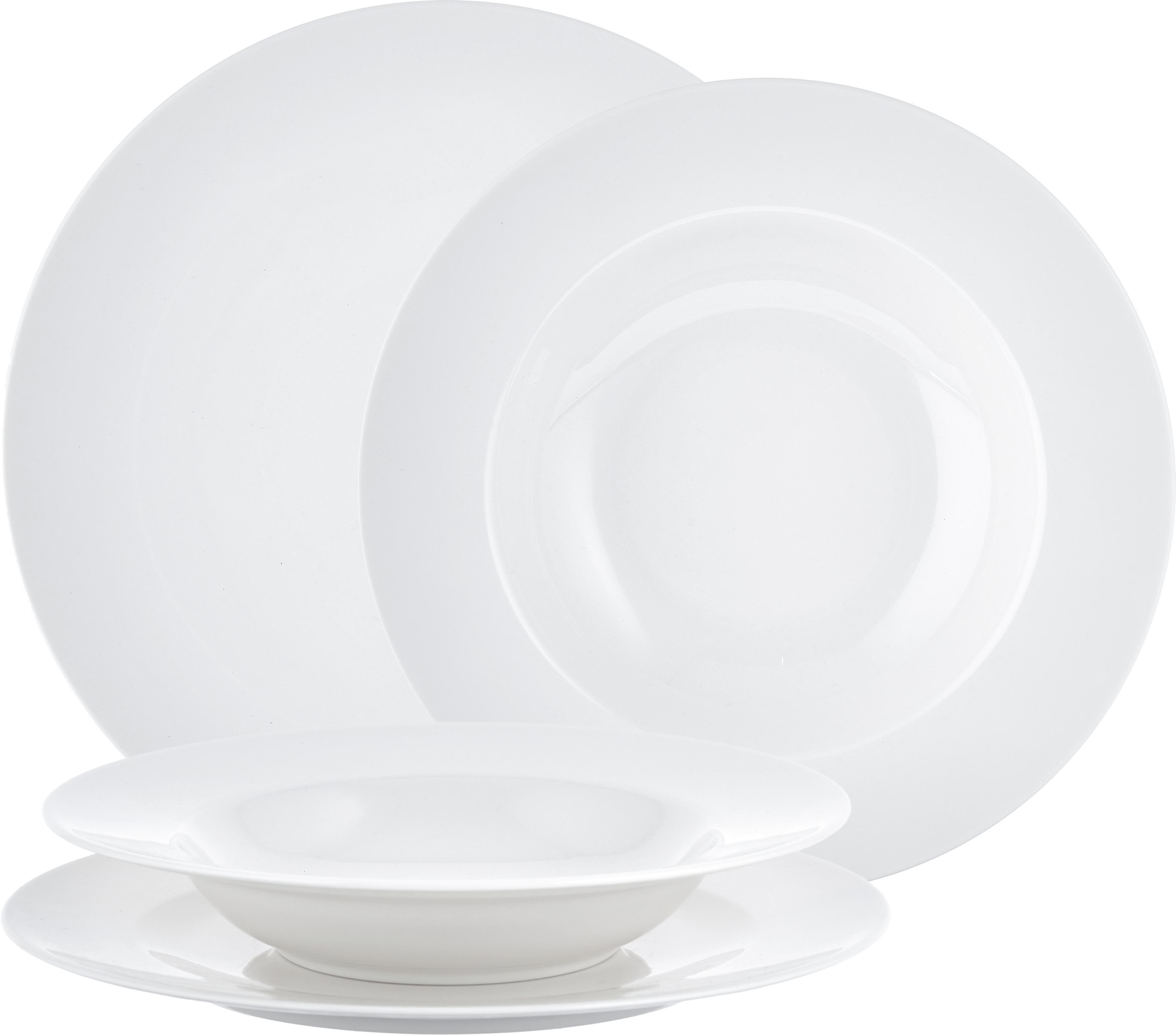 Komplet naczyń z porcelany For Me, 8 elem., Porcelana, Biały, Różne rozmiary