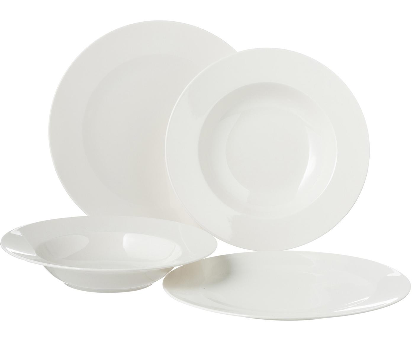 Vajila de porcelan For Me, 6comensales (8 pzas.), Porcelana, Blanco, Tamaños diferentes