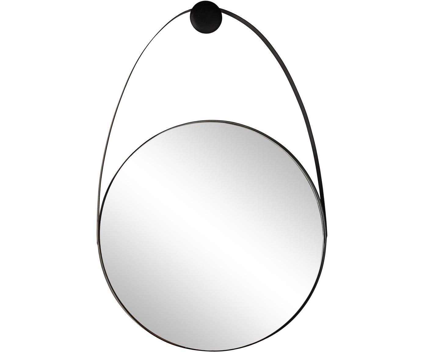 Specchio da parete Kieran, Cornice: metallo rivestito, Superficie dello specchio: lastra di vetro, Nero, Larg. 46 x Alt. 68 cm