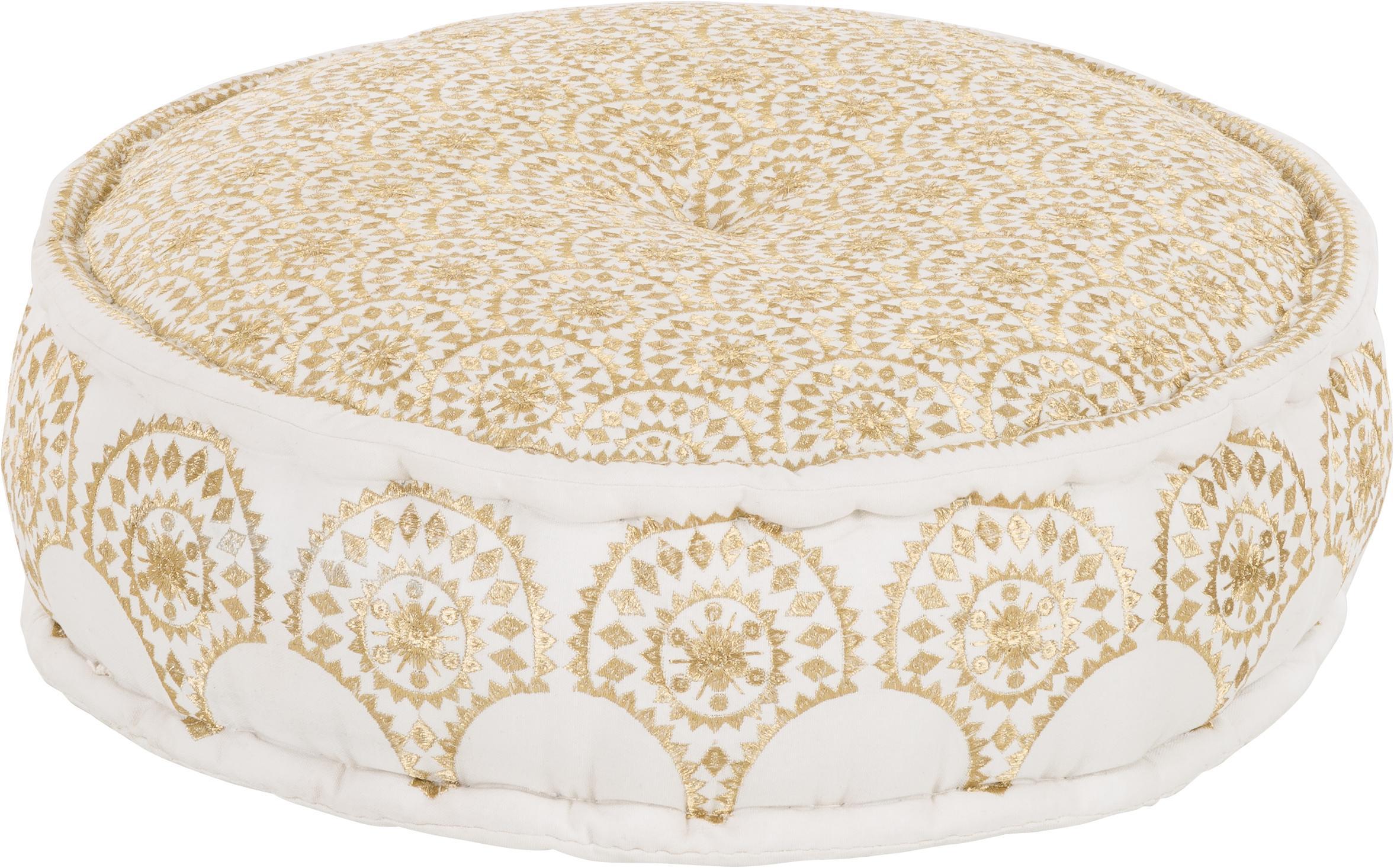 Okrągła haftowana poduszka podłogowa Casablanca, Tapicerka: solidne bawełniane płótno, Biały, odcienie złotego, Ø 60 x W 25 cm