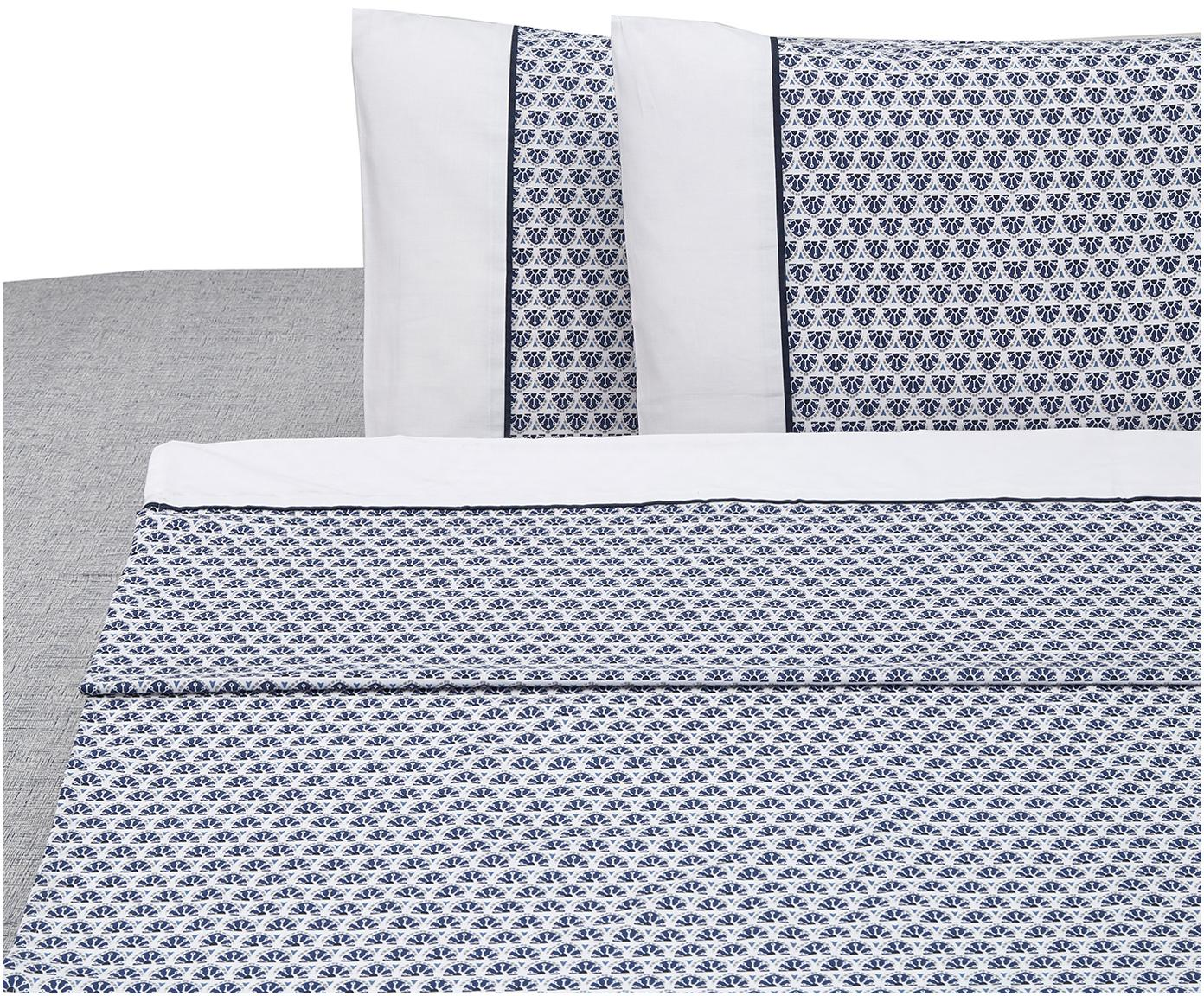 Set lenzuola in cotone Square 4 pz, Cotone, Bianco, blu, 250 x 280 cm