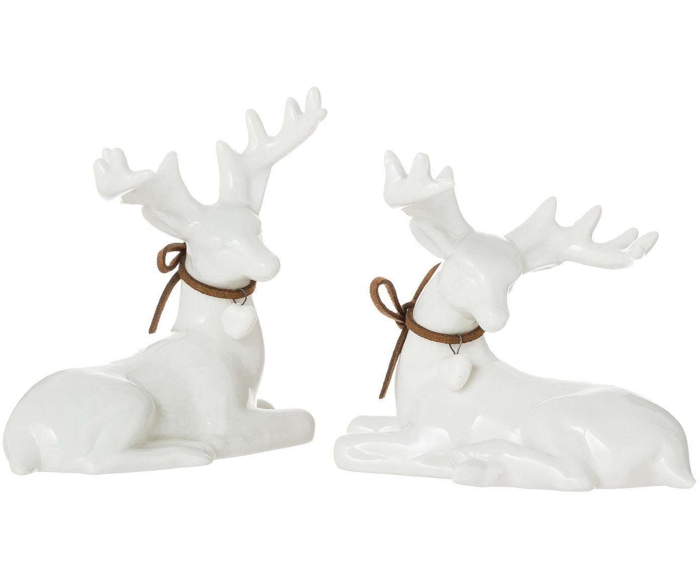 Komplet jeleni dekoracyjnych Ben, 2 elem., 100% porcelana, Biały, S 8 x W 11 cm