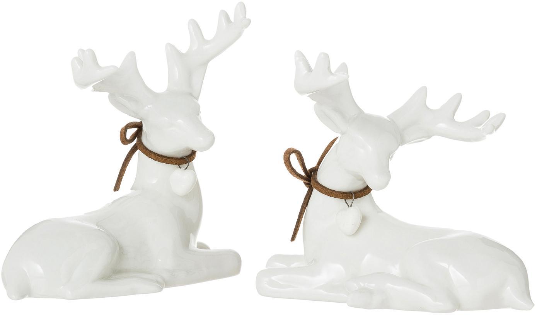 Set de ciervos decorativos Ben, 2pzas., 100% porcelana, Blanco, An 8 x Al 11 cm