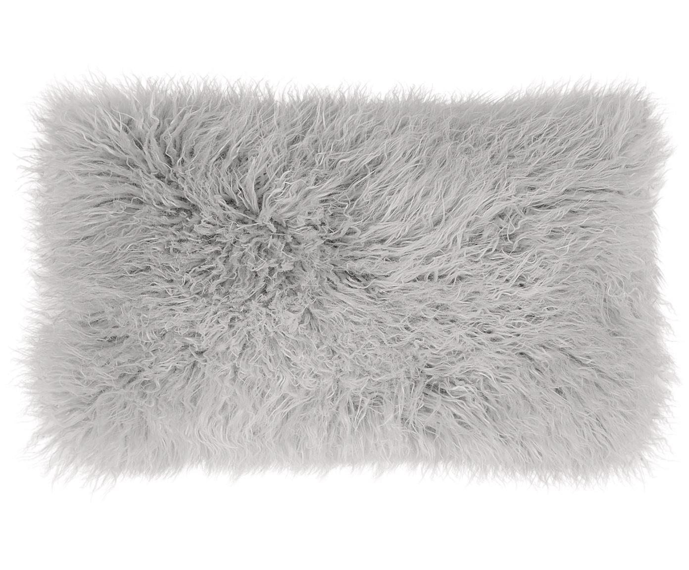 Flauschige Kunstfell-Kissenhülle Morten, gelockt, Vorderseite: 67% Akryl, 33% Polyester, Rückseite: 100% Polyester, Hellgrau, 30 x 50 cm
