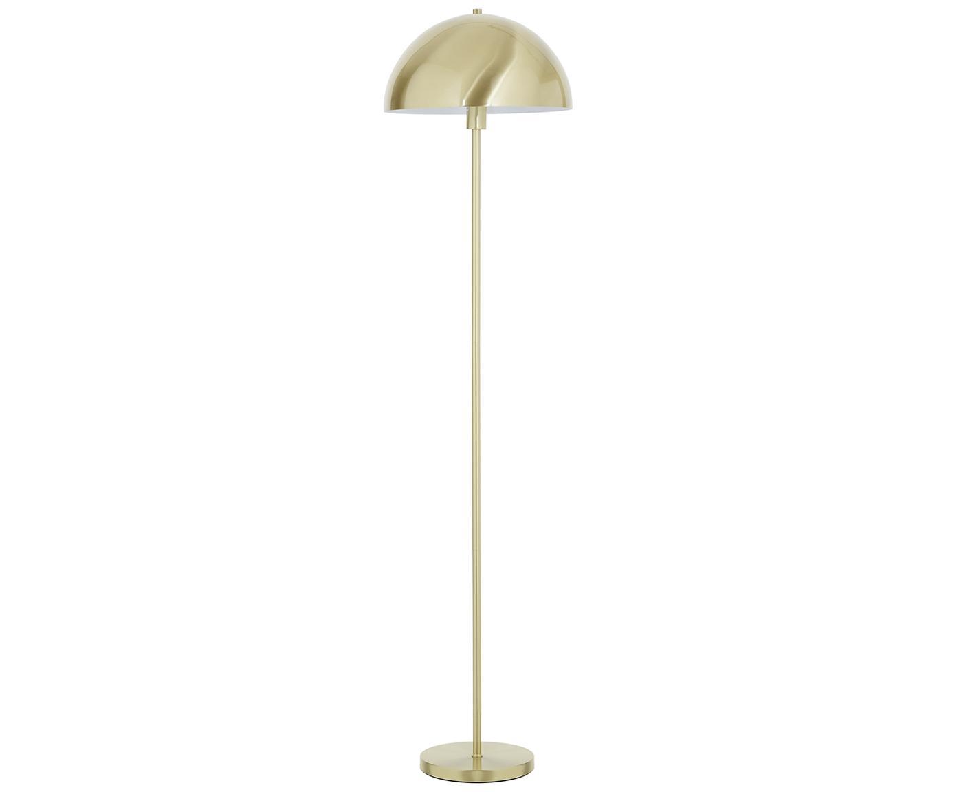 Vloerlamp Matilda, Lampenkap: geborsteld metaal, Lampvoet: vermessingd metaal, Messingkleurig, Ø 40 x H 164 cm