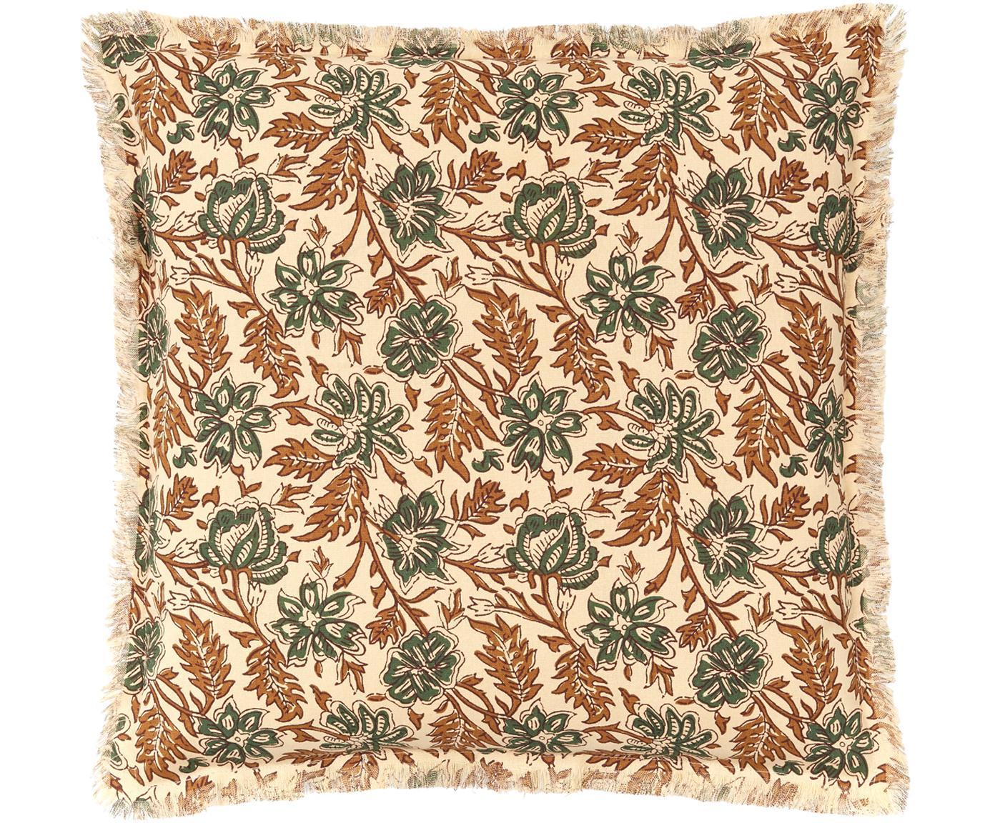 Federa arredo con frange Summerleaves, Cotone, Crema, verde, marrone, Larg. 50 x Lung. 50 cm