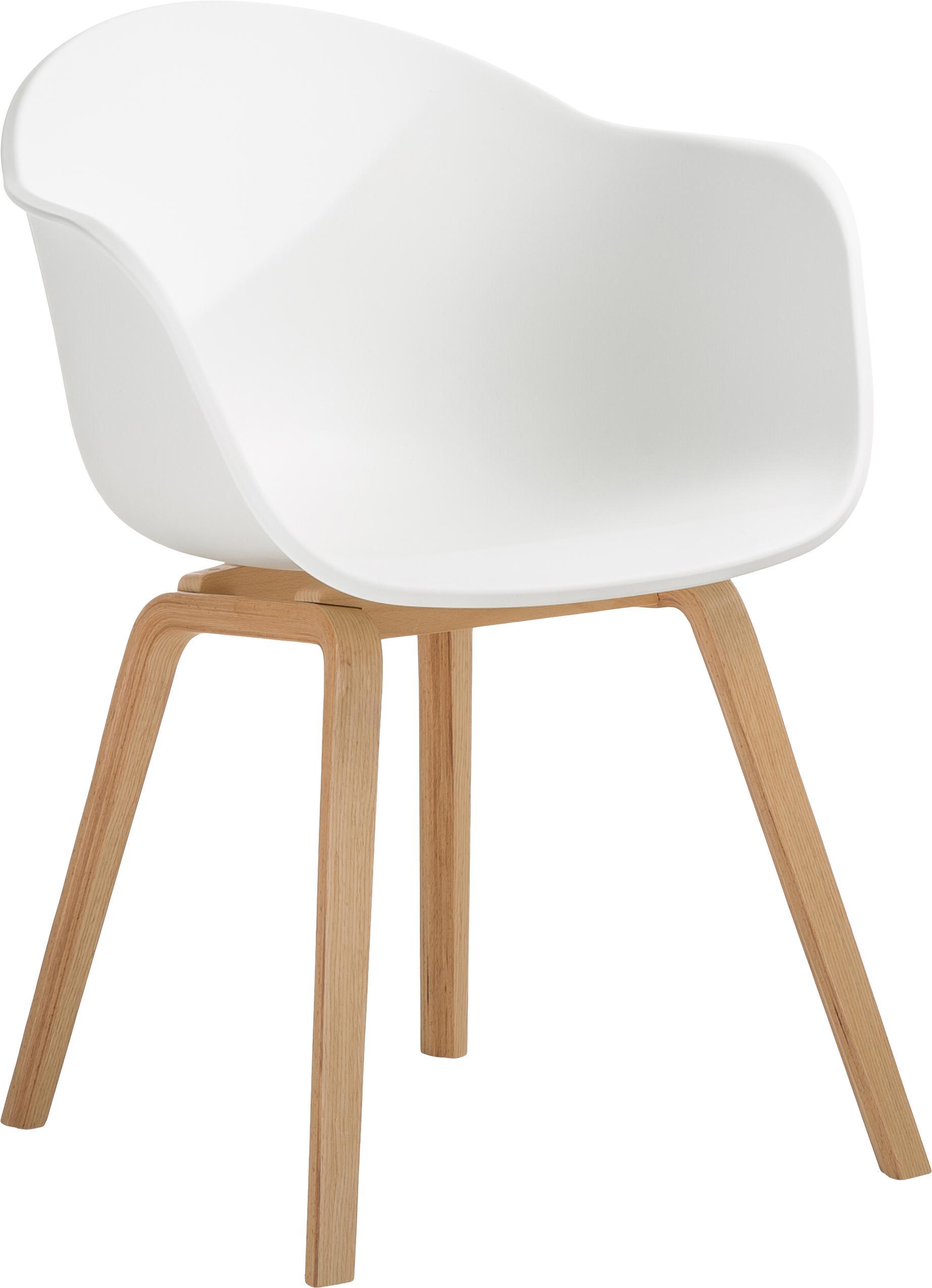 Kunststoff-Armlehnstuhl Claire mit Holzbeinen, Sitzschale: Kunststoff, Beine: Buchenholz, Kunststoff Weiß, B 54 x T 60 cm