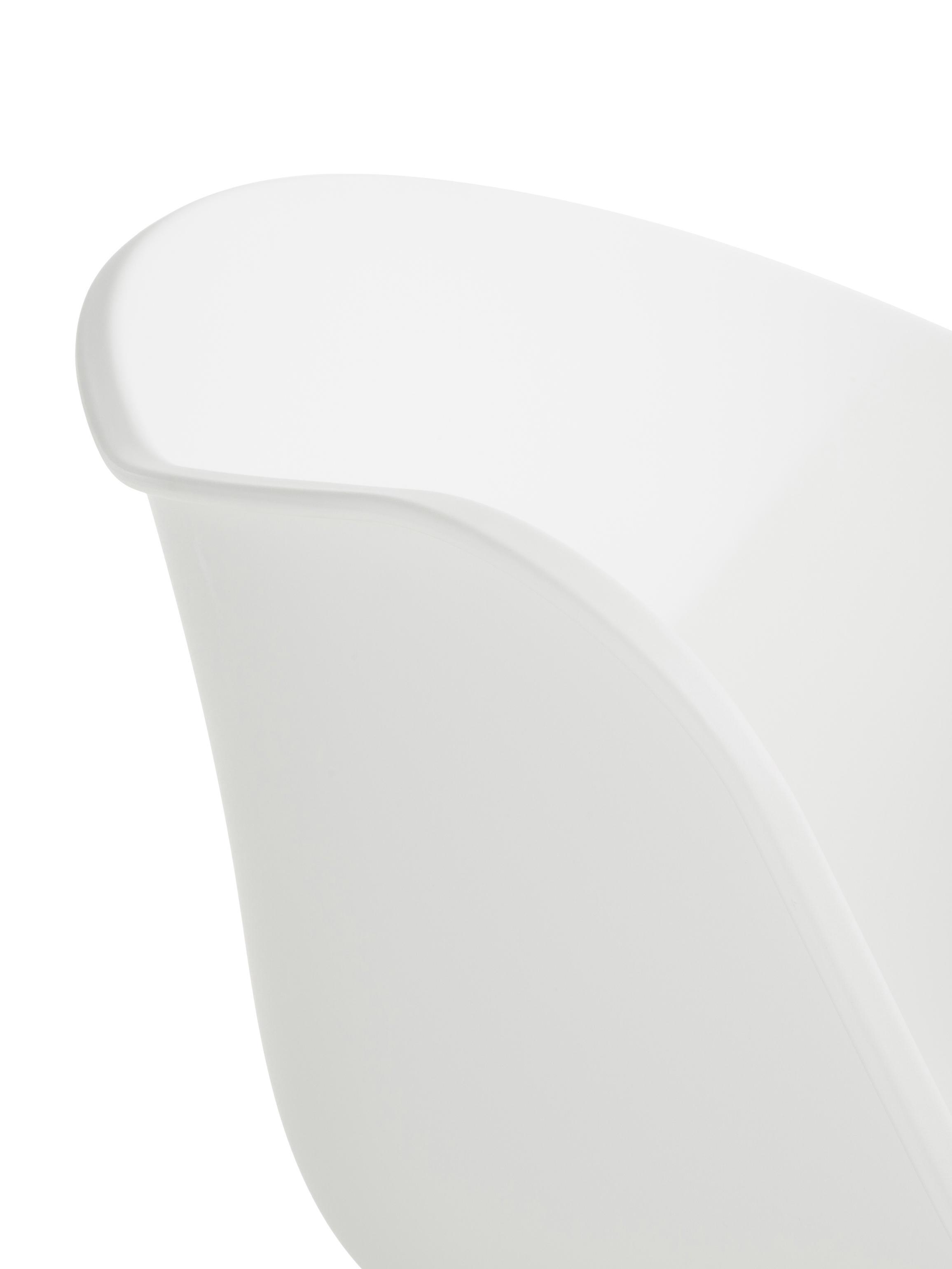 Kunststoff-Armlehnstuhl Claire mit Holzbeinen, Sitzschale: Kunststoff, Beine: Buchenholz, Kunststoff Weiss, B 54 x T 60 cm