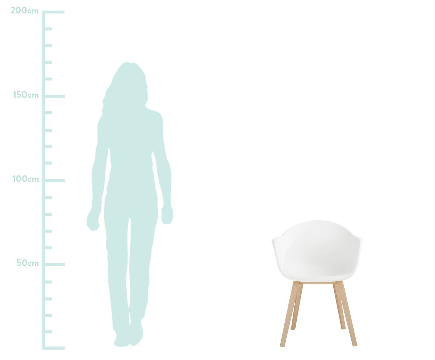 Silla con reposabrazos de plástico Claire, Asiento: plástico, Patas: madera de haya, Blanco, haya, An 54 x F 60 cm