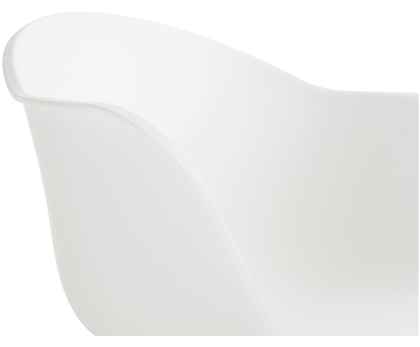Krzesło z podłokietnikami z tworzywa sztucznego Claire, Nogi: drewno bukowe, Siedzisko: biały Nogi: drewno bukowe, S 54 x G 60 cm