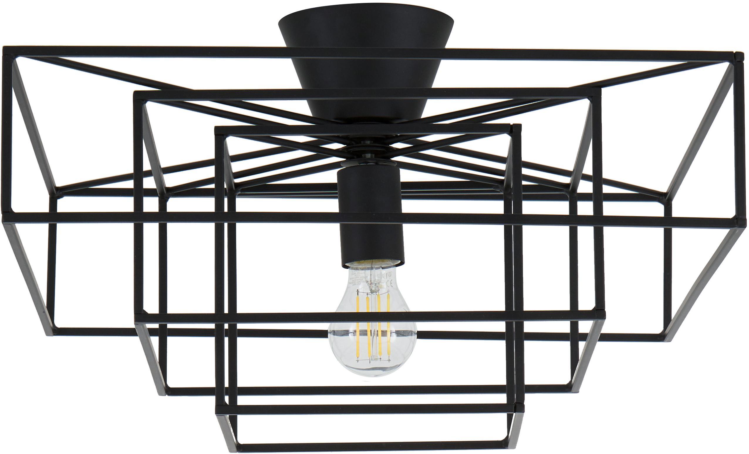 Lampa sufitowa Cube, Mosiądz lakierowany, Czarny, S 46 x W 27 cm