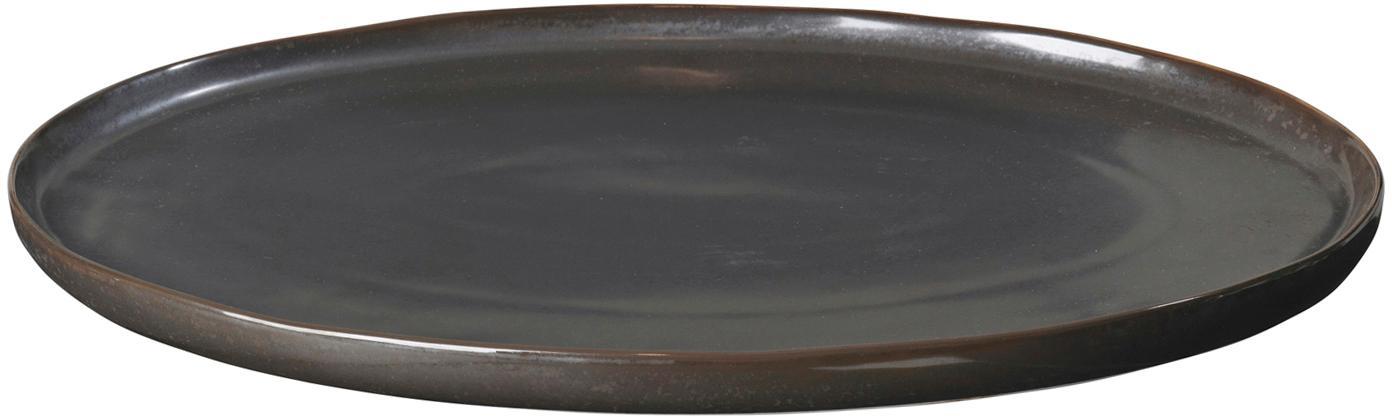 Ręcznie wykonany półmisek Esrum Night, Kamionka szkliwiona, Szarobrązowy, matowy, srebrzysty, lśniący, S 39 x G 26 cm